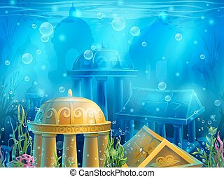 Underwater ruins with a set of elements. For print, create...