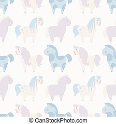 simple seamless pattern with 4 pony in pastel color