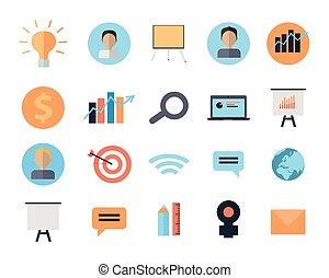 Set of Icons of Time Management Digital Devices - Set of...