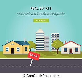 Real Estate Vector Web Banner in Flat Design. - Real estate...