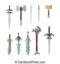 Set of Fantastic Game Weapon Vector Models.