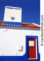 Traditional blue and white Alentejo Portuguese house,...