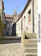 Church  in  stone alley in Pontevedra, Galicia, Spain.