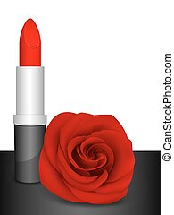 Red lipstick & red rose