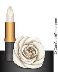White lipstick & white rose