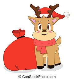 Christmas deer with santa bag