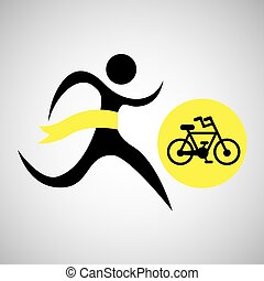 winner silhouette sport cyclist icon