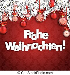 Merry Christmas Ornaments Baubles Twigs Frohe Weihnachten -...