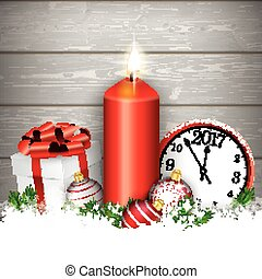 Christmas Candle Clock Gift Baubles Wood
