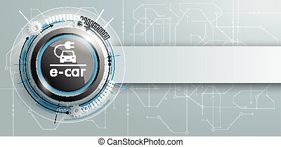 E-Car Construction Circuit Board Banner - E-car button with...
