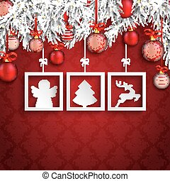 Christmas Ornaments Baubles Twigs 3 Frames Angel - White...