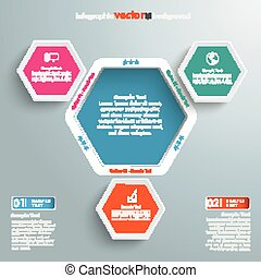 Hexagon Hole Infographic 3 Options - Infographic design with...