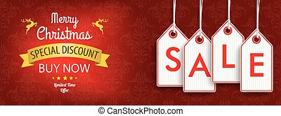 Christmas Discount Header Ornaments Price Stickers Sale -...
