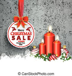 Concrete Christmas Sale Circle Ribbon Red Baubles Snow Candles