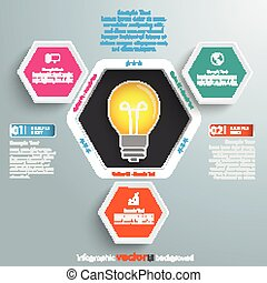 Hexagon Hole Infographic 3 Options Bulb - Infographic design...