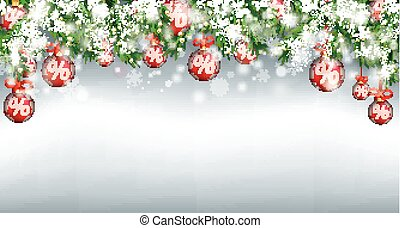 Christmas Sale Header Twigs Red Percent Baubles Snow