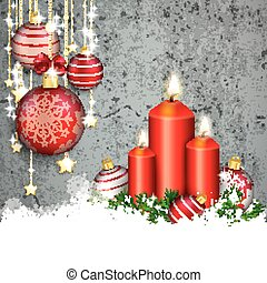 Concrete Christmas Cover Red Baubles Golden Stars Snow Candles