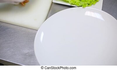 Chef puts the vegetables on a plate