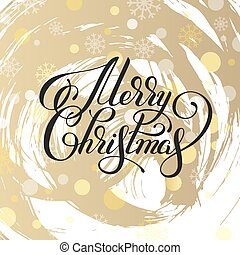 merry christmas hand written calligraphy with snowflakes...