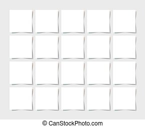 20 pieces square blank sheet of white paper with the shadow...
