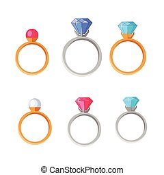 Jewelry Set of Rings with Gems of Different Colors