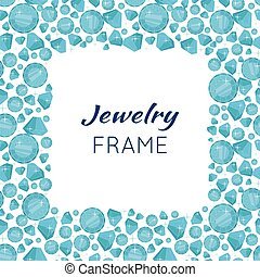 Square Frame Made of Diamonds. - Jewelry square frame with...