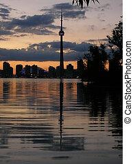 Toronto Skyline at night, CN tower