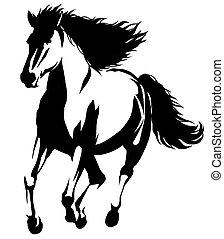Empate, lineal, caballo, Ilustración, Pintura, negro, blanco