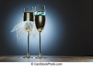 Elegant conceptual two glass of champagne for honeymooners