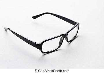 Glasses in empty white background - Glasses in black frame...