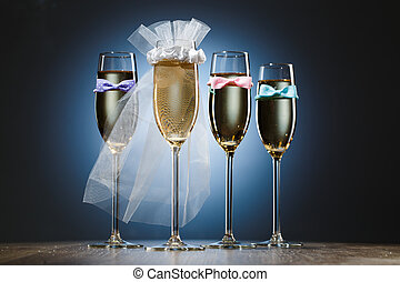 Glasses of champagne for bride and gentlemens - One glass of...