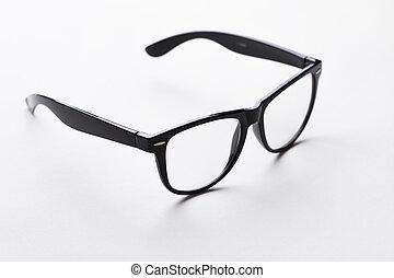 Black-rimmed glasses on white background - Black-rimmed...