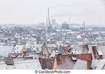 View of the German city Nuremberg above the rooftops with...