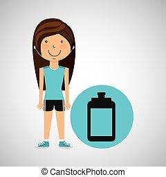 athlete girl bottle water sport style vector illustration...