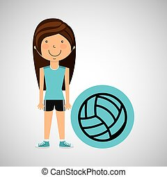 athlete girl volleyball sport style vector illustration eps...