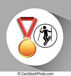 ski medal sport extreme graphic vector illustration eps 10