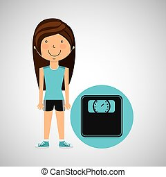 athlete girl weight scale sport style