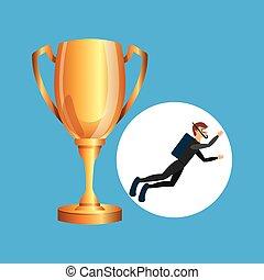 scuba diver man trophy sport design