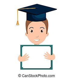 student graduate avatar with diploma icon