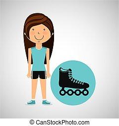 athlete girl roller skate sport style