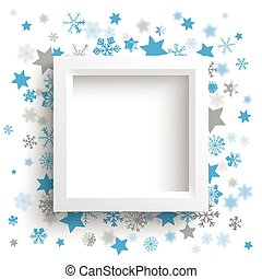 White Frame Christmas Stars Snowflakes - White frame with...