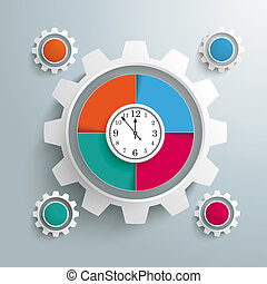 Big Gear Colored 4 Options Cycle Clock Centre - Infographic...