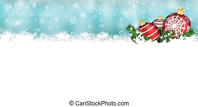 Snow Banner Red Baubles Twigs Christmas Header