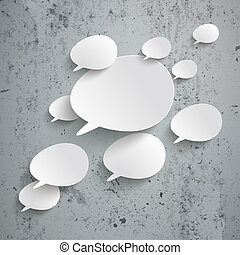 Bevel Speech Bubbles Infographic Design Concrete -...