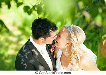 Wedding couple in romantic setting - wedding couple hugging...