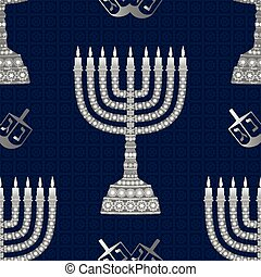 Hanukkah background with menorah. Candles, David star and jewels. Seamless pattern.