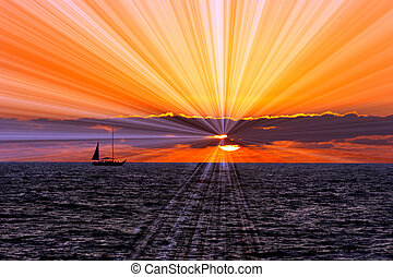 Sunset Sailboat - Sunset sailboat is a silhouetted boat...
