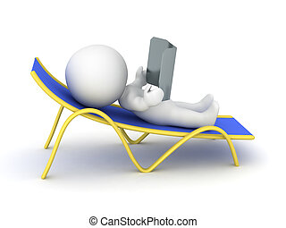 3D Character Relaxing in Beach Chair - 3D character relaxing...