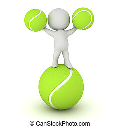 3D Character with Tennis Balls