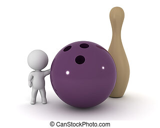 3D Character with Bowling Ball - 3D character with a large...